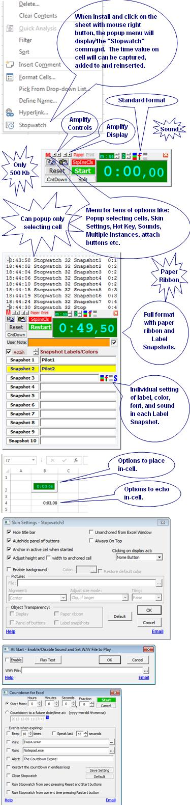Popup Stopwatch for Microsoft Excel